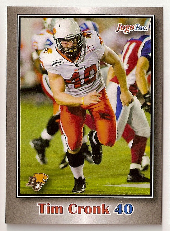Tim Cronk CFL card 2012 Jogo #17 BC Lions  Bishop's Gaiters