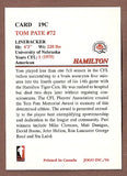 Tom Pate CFL card 1994 Jogo Missing Years #19C Hamilton Tiger-Cats  Nebraska Cornhuskers