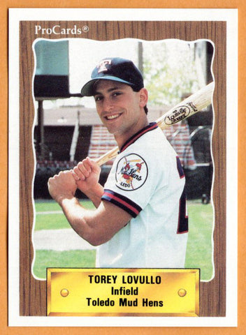 Torey Lovullo 1990 Toledo Mud Hens Minor League Baseball  UCLA Bruins  Montclair College Mounties  |  Detroit Tigers New York Yankees Seattle Mariners California Angels Oakland Athletics Philadelphia Phillies Cleveland Indians