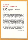 Trevor Kennerd CFL card 1986 Jogo #140 Winnipeg Blue Bombers  Alberta Golden Bears