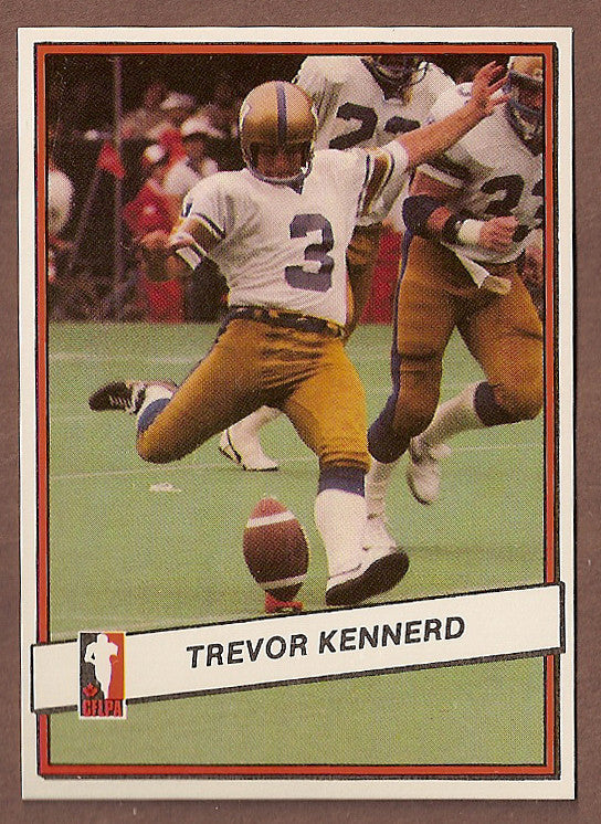 Trevor Kennerd CFL card 1985 Jogo #91 Winnipeg Blue Bombers  Alberta Golden Bears