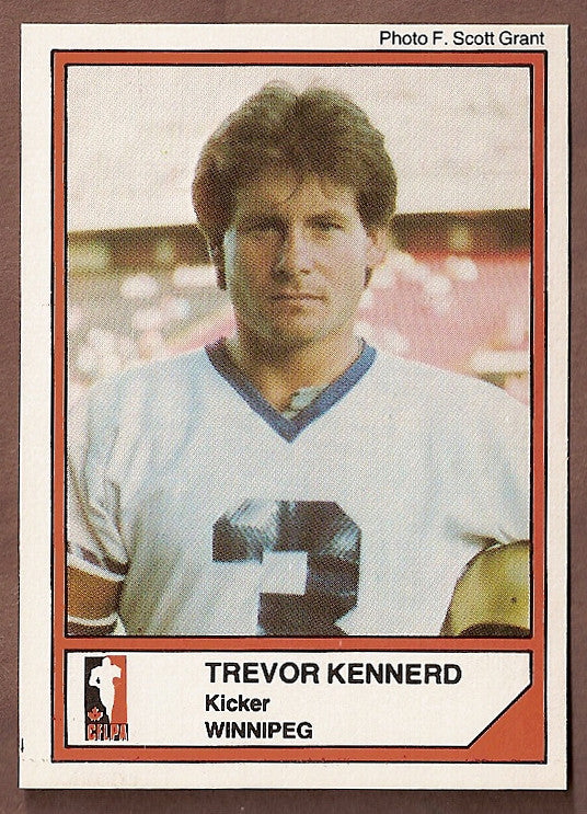 Trevor Kennerd CFL card 1984 Jogo #78 Winnipeg Blue Bombers  Alberta Golden Bears