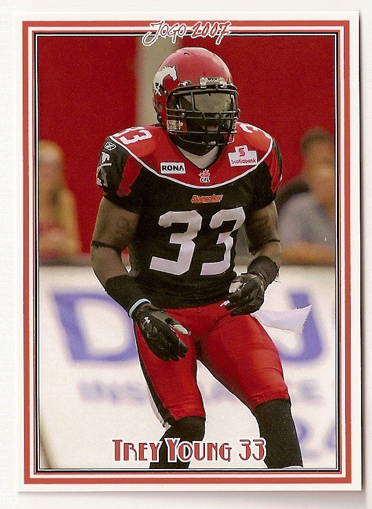Trey Young CFL card 2007 Jogo #66 Calgary Stampeders  Montana Grizzlies
