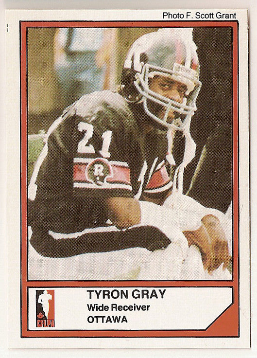 Tyron Gray CFL card 1984 Jogo #25 Ottawa Rough Riders  Washington State Cougars