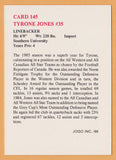 Tyrone Jones CFL card 1986 Jogo #145 Winnipeg Blue Bombers  Southern Jaguars  Hall of Fame