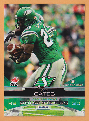 Wes Cates CFL card 2009 Extreme #78 Saskatchewan Roughriders  Cal Vulcans