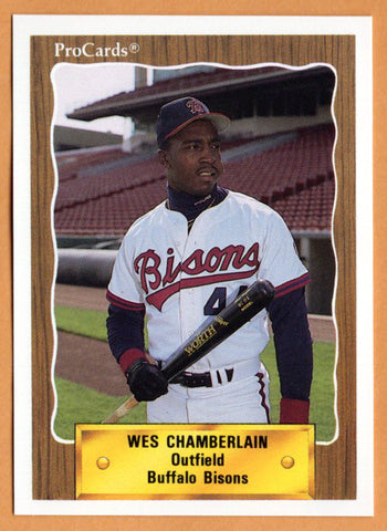 Wes Chamberlain 1990 Buffalo Bisons Minor League Baseball  Jackson State Tigers  Simeon Career Academy Wolverines  |  Philadelphia Phillies Boston Red Sox
