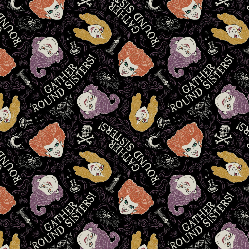 Disney's Hocus Pocus Gather Around Sisters on Black By Camelot Fabrics