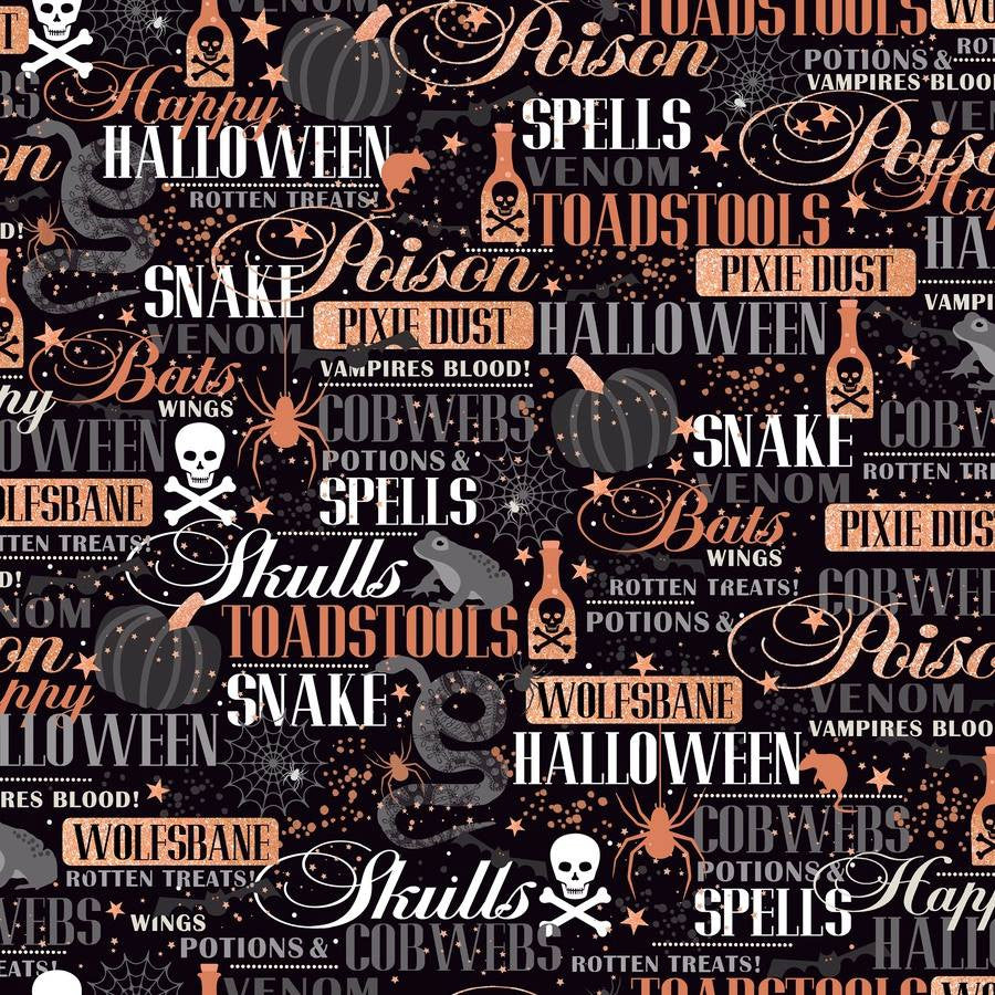 Spells & Potion Black Halloween Lingo with Cooper Inlay