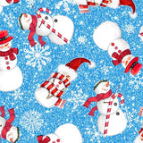Christmas Snowmen Blue