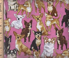 Chihuahuas Pink Scatter Cotton