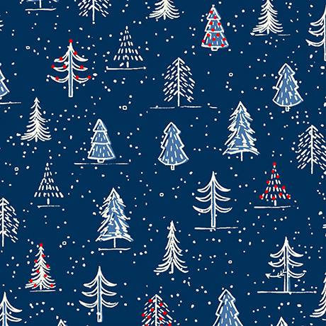 Christmas Trees - Navy