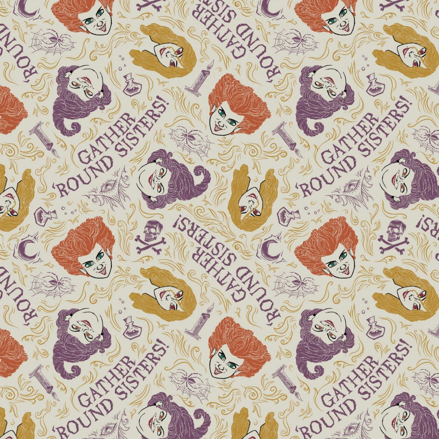 Disney's Hocus Pocus Gather Around Sisters on Cream By Camelot Fabrics