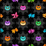 Multi colored goldfish & cats on black