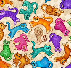 Multi colored Cats on Tan