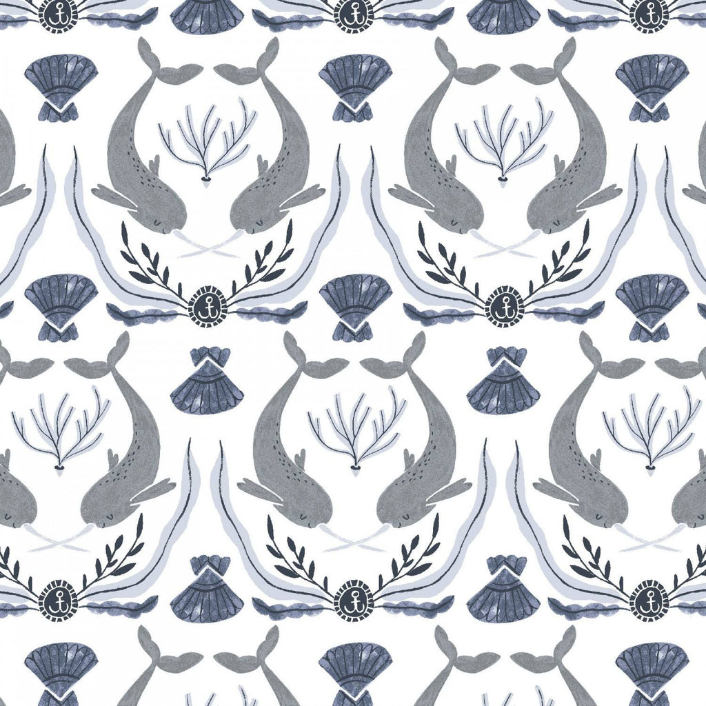 White Norwhal Damask
