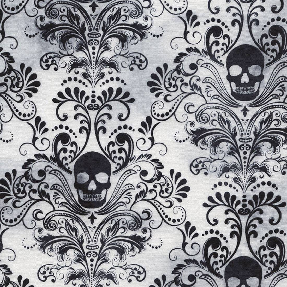 Wicked Eve Skull Damask White Cotton
