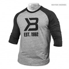 Better Bodies Mens baseball tee, grey melange/antracite