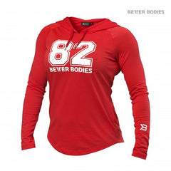 Better Bodies women Varsity Hoodie, tomato red
