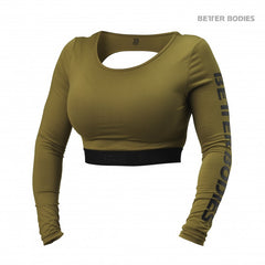 Better Bodies Chelsea cropped l/s, Military Olive
