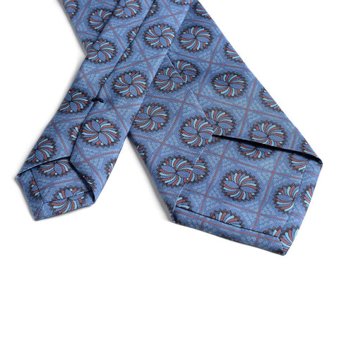 Infinito Mandala 'Gum Twill' Silk Necktie Royal Blue/Maroon Backside - R. Culturi