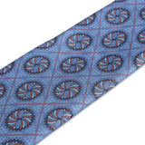 Infinito Mandala 'Gum Twill' Silk Necktie Royal Blue/Maroon Pattern Close-up - R. Culturi