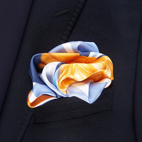 Knights Move Pocket Square Unfolded - R. Culturi