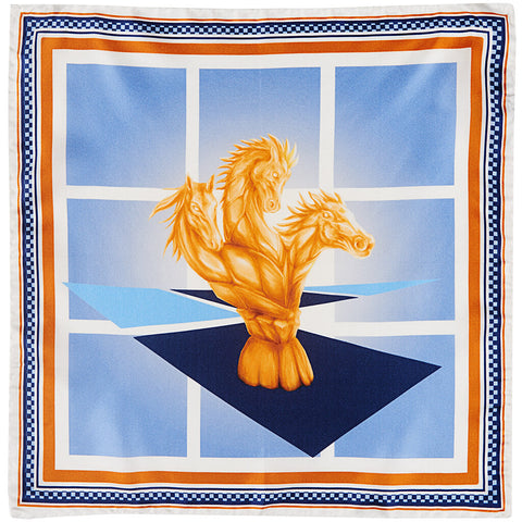 Knights Move Silk Twill Pocket Square Unfolded - R. Culturi