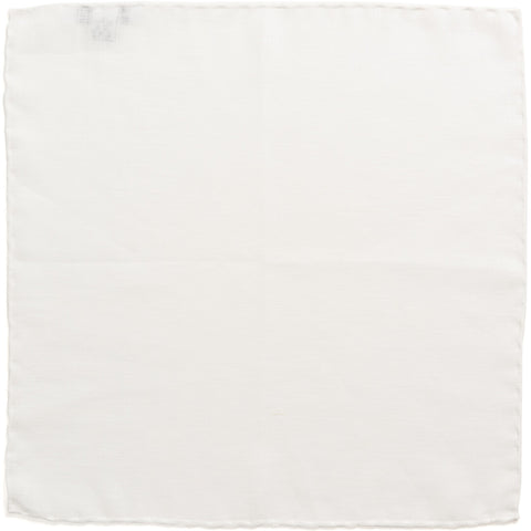 R. Culturi Linen Pocket Square White/White Unfolded