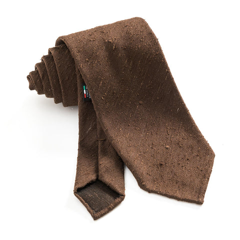 R. Culturi Shantung Silk Handmade Necktie Brown Rolled-up