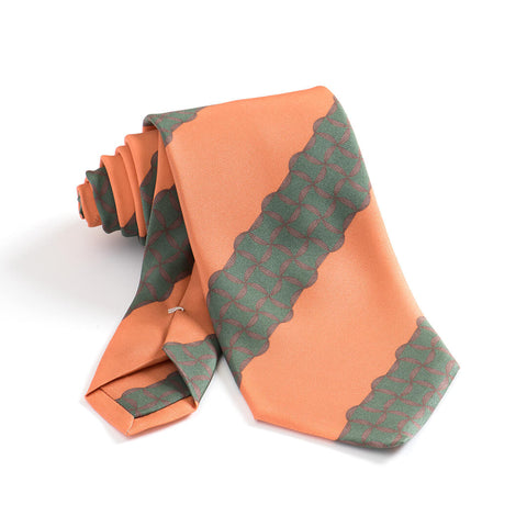 Singeleza Mandala 'Gum Twill' Silk Necktie - Orange/Pine Green
