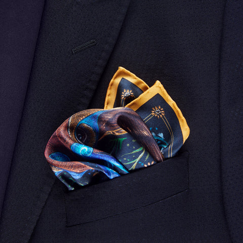 Stag Totem Silk Twill Pocket Square Unfolded - R. Culturi