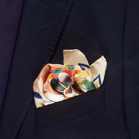 Still Life Silk Twill Pocket Square Unfolded - R. Culturi