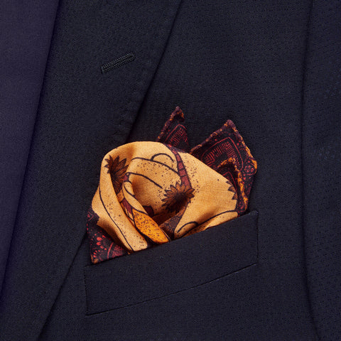 Tides Pocket Square Unfolded - R. Culturi