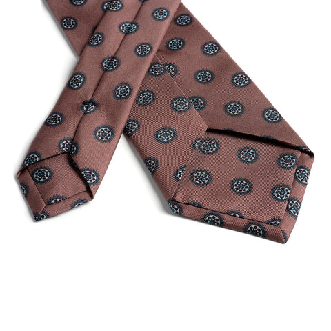 Universo Mandala 'Gum Twill' Silk Necktie Copper/Teal Backside - R. Culturi