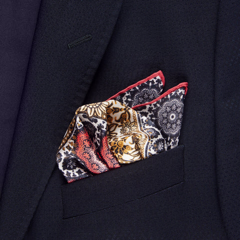 Vision of an Urban Peasant Silk Twill Pocket Square Unfolded - R. Culturi