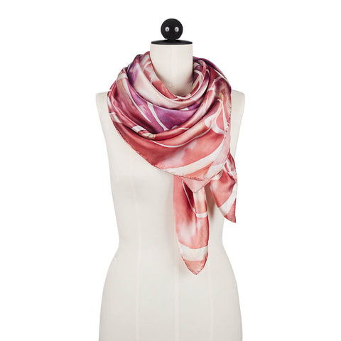 Wave of Modernity Satin Silk Scarf Unfolded - R. Culturi