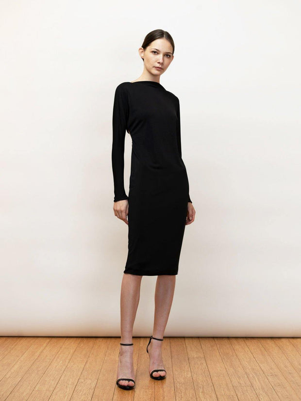 Athena | Black Knit Midi Dress