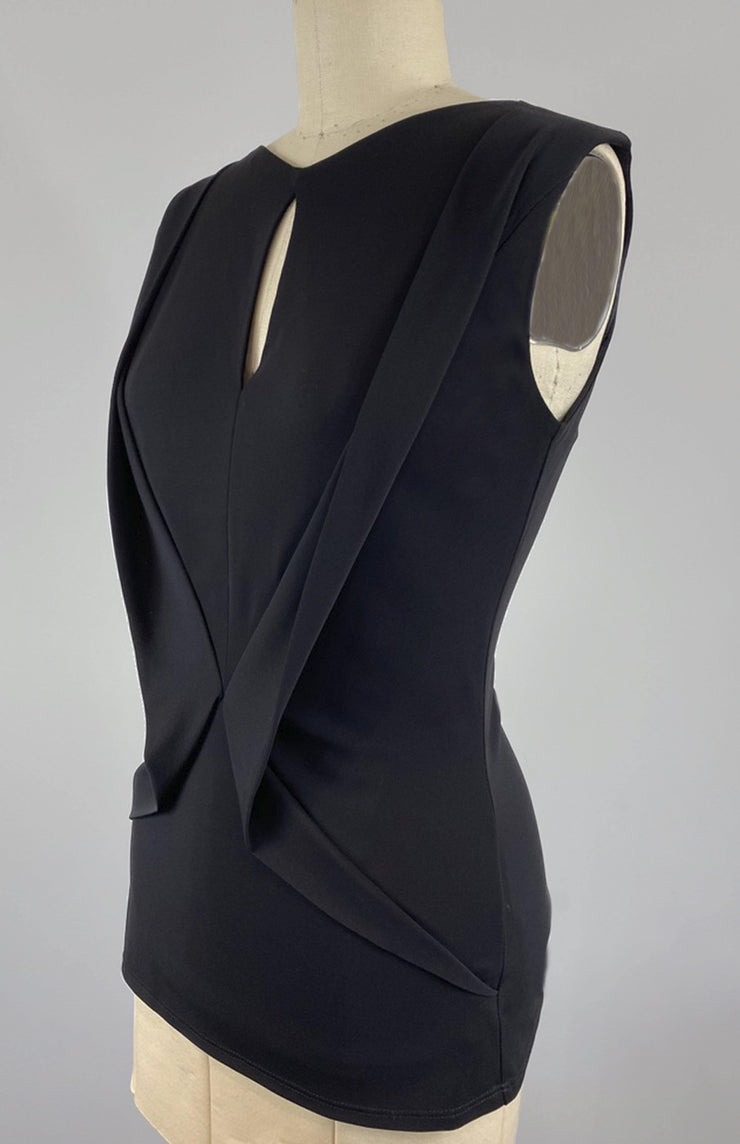 Bianca - Draped Matte Jersey Top With Fluid Draping - Closeup Side