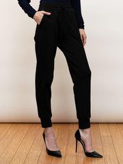 Dara - Black Dressy Jogger Pants With Leather Trims - Front Closeup