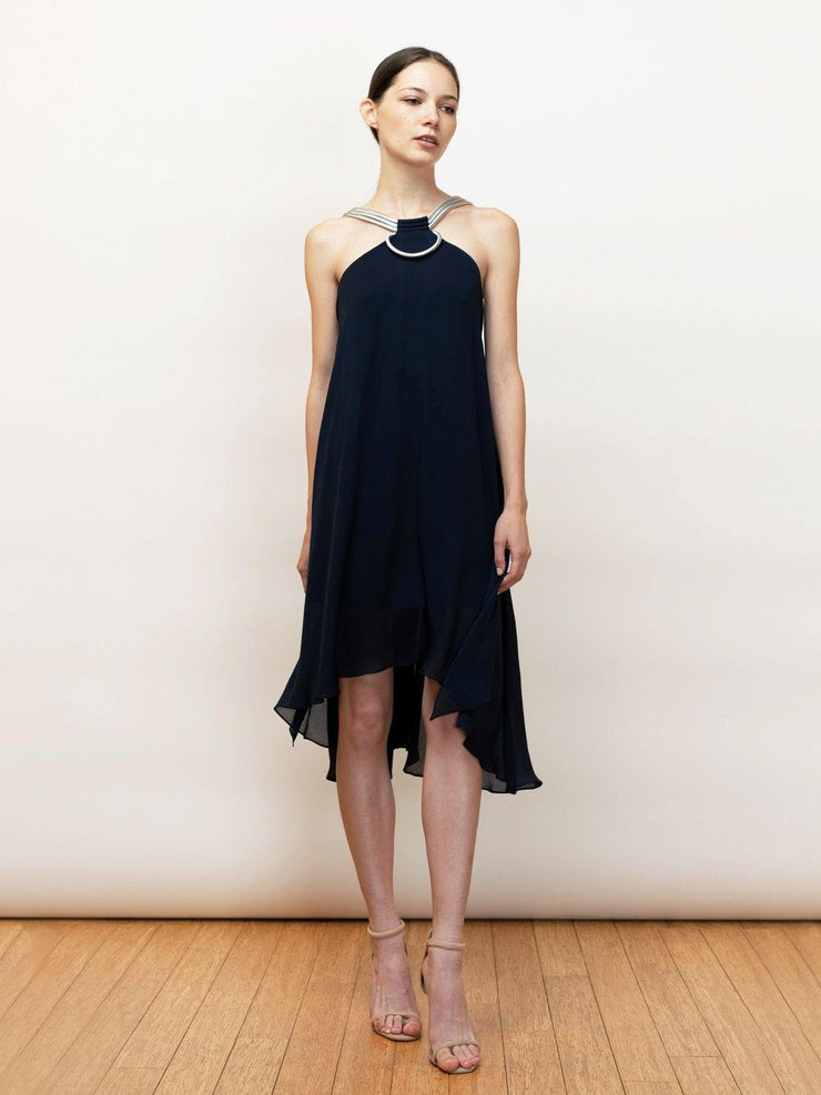Dimitra - A Perfect Silk Chiffon Halter Dress - Front full Body