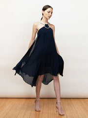 Dimitra - A Perfect Silk Chiffon Halter Dress - Front Flowing