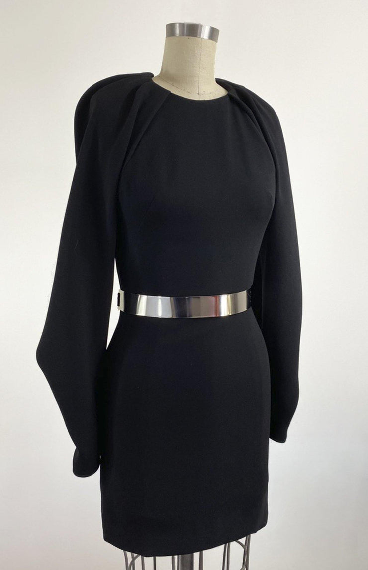 Irma - Short Black Backless Dress With Oversized Draped Sleeves