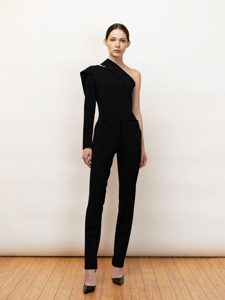 Edessa - One shoulder bodysuit with draped sleeve- Front Fully Body in Black