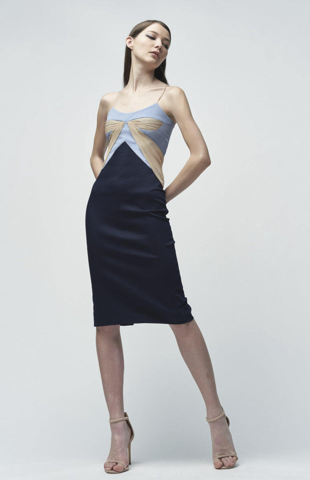 Ekate - Stretch crepe and denim midi dress - Front Full Body