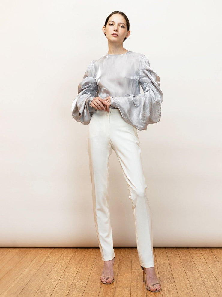 White Endless Pants - Stretch Cigarette Crepe Pants - Front Full Body