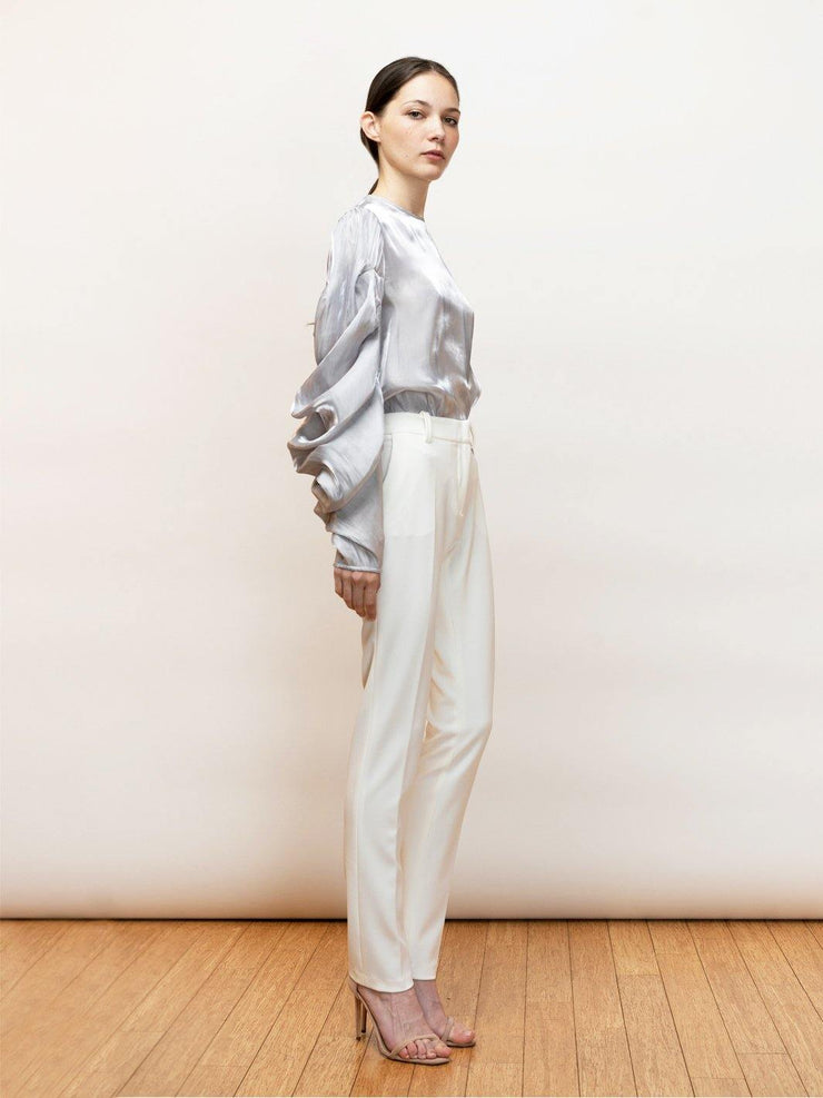 White Endless Pants - Stretch Cigarette Crepe Pants - Side Full Body