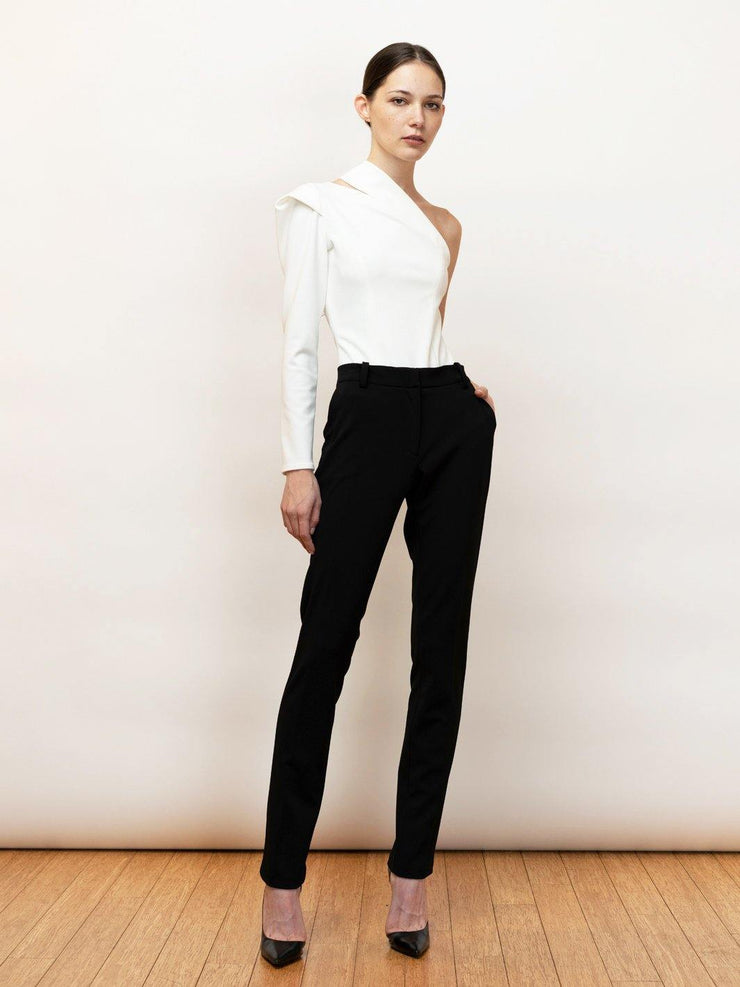 Black Endless Pants - Stretch Cigarette Crepe Pants - Front Full Body