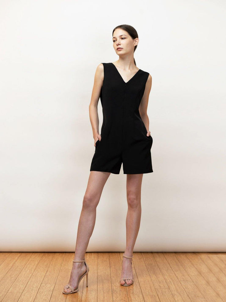 Erato - Draped Romper with chic cutout back