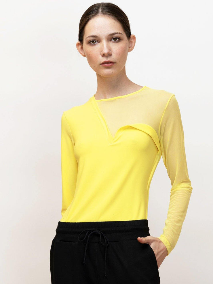 Eree - Long Sleeve Jersey Tee With Mesh Contrast - Front Detail in Yellow